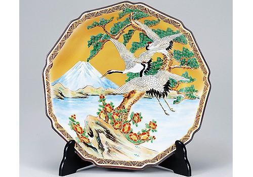 K3-1513 九谷焼 10号飾皿 富士に鶴