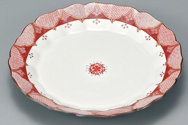 AP3-0216 九谷焼 8.6号盛皿 赤小紋