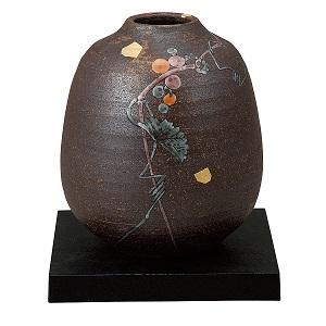 K5-1293 九谷焼 6.5号花瓶 山ぶどう(台付)
