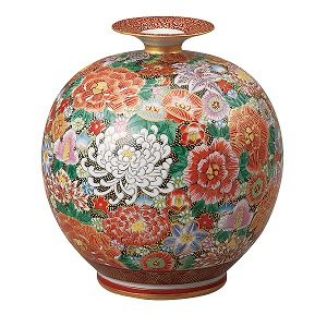 K5-1321 九谷焼 7号花瓶 本金花詰