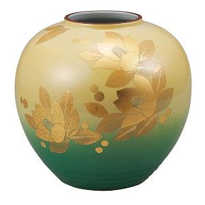 K5-1333 九谷焼 8号花瓶 釉裏金箔彩山茶花