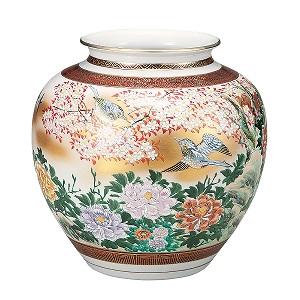 K5-1340 九谷焼 9.5号花瓶 本金花鳥