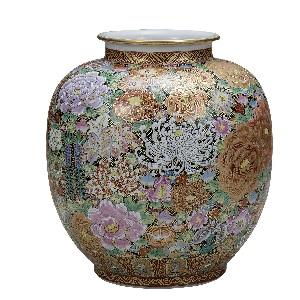 K5-1352 九谷焼 10号花瓶 本金花詰