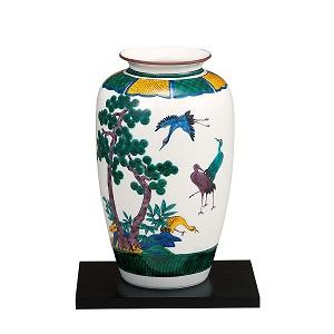 K5-1357 九谷焼 10号花瓶 古九谷松鶴(台付)