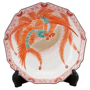 K5-1383 九谷焼 10号飾皿 赤絵鳳凰
