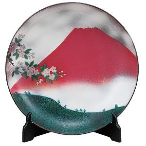 K5-1399 九谷焼 12号飾皿 赤富士