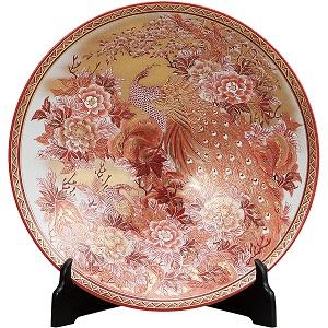 K5-1401 九谷焼 12号飾皿 本金赤牡丹孔雀