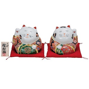 K5-1548 九谷焼 4号ペア招き猫 盛