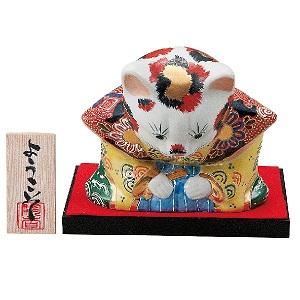 K5-1583 九谷焼 6号おじぎ福助猫 盛