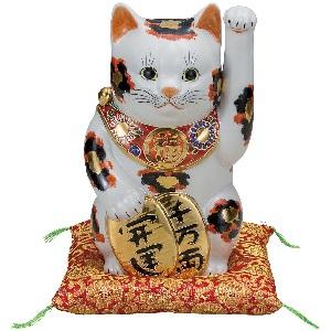 K5-1594 九谷焼 8号小判招き猫 金三毛