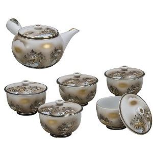 K5-772 九谷焼 蓋付茶器 墨山水