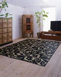 袋織い草ラグ アラベスク 190×190cm