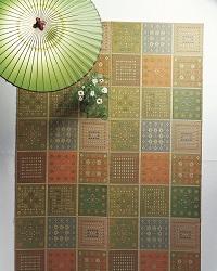 袋織い草カーペット フラワー 江戸間6畳 261×348cm