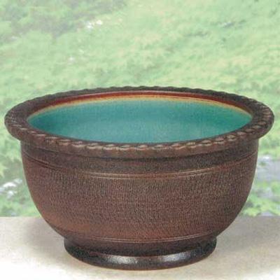 SA95-6 信楽焼 窯肌トチリワン型水鉢 16号