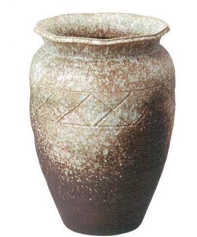【送料無料】 7018-06 信楽焼 古窯変織部流し壺型花瓶 18号