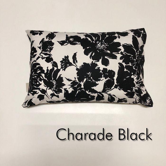 送料無料 高級な おしゃれな日本製のコットン100% Sサイズ枕カバー シャレード B 受注生産品 W ブラック ピロケース 花柄 35cm×50cm ポイント消化