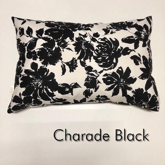 海外 送料無料 品質保証 日本製コットン100% Mサイズ枕カバー シャレード B ピロケース W ブラック 花柄 43cm×63cm