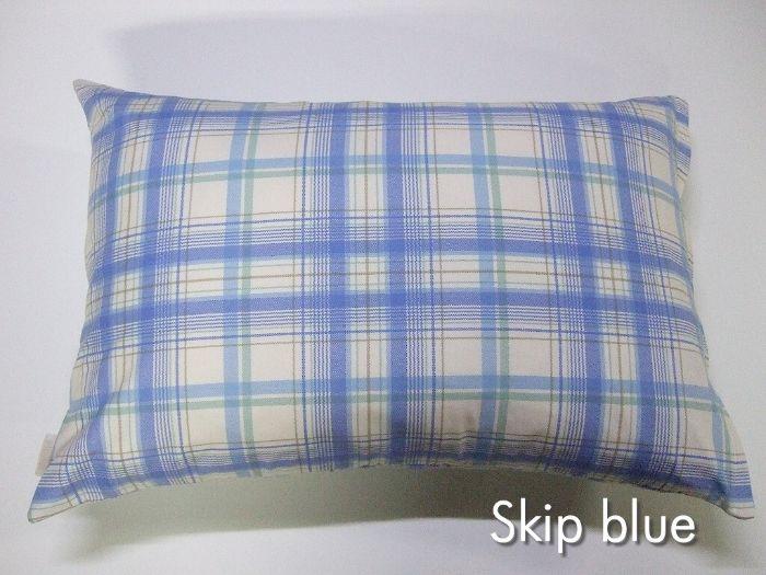 送料無料 売り込み 日本製コットン100% Mサイズ枕カバー スキップ ブルー 43cm×63cm ポイント消化 早割クーポン ピロケース チェック柄