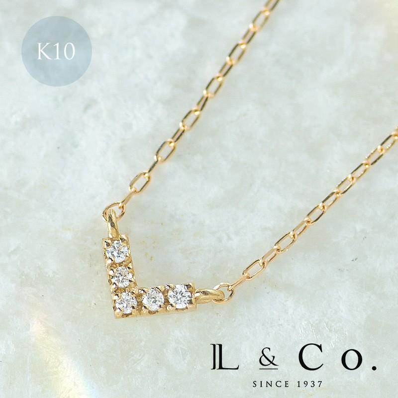 メーカー再生品 Victoryを表す V モチーフのダイヤモンドネックレス ネックレス K10 10金 ダイヤネックレス 10K 今だけ限定15%OFFクーポン発行中 Love 0.02ct ダイヤモンド