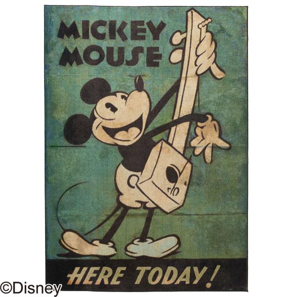【送料無料】MICKEY/Music RUG DRM-1034 140×200 ラグ カーペット ディスニー ミッキー 日本製 アンティーク おしゃれ キャラクター 防ダニ 耐熱加工 【TD】【スミノエ】