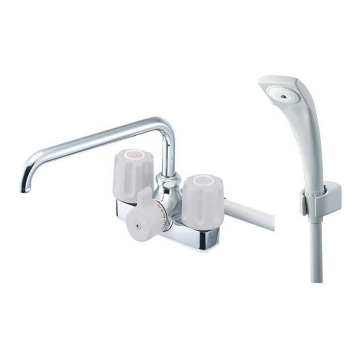 ツーバルブデッキシャワー混合栓 SK710-LH-13送料無料 バスルーム用 ミキシング 水道 三栄水栓 SAN-EI 【D】