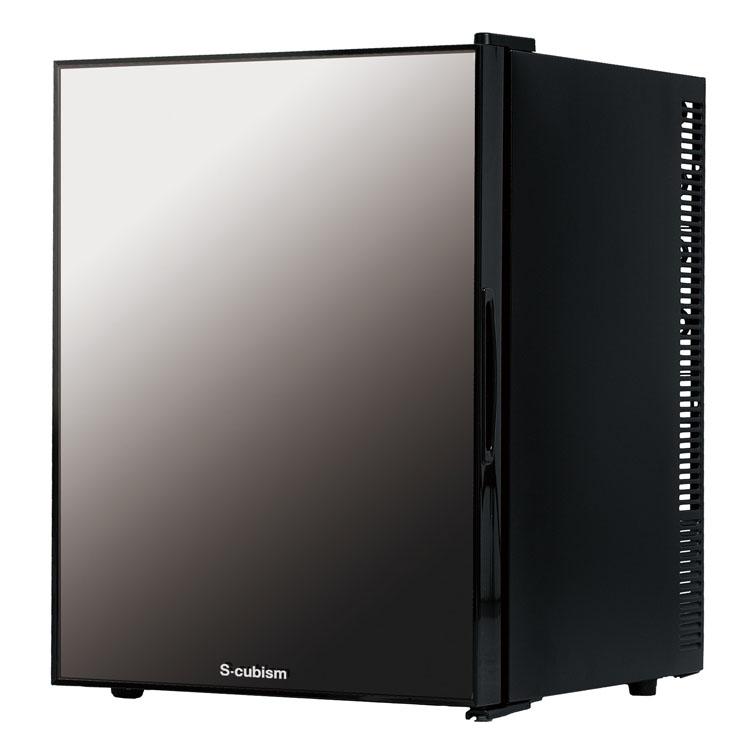 S-cubism 1ドア冷蔵庫 40L ミラーガラスドア WRH-M140G送料無料 1ドア 左右開き 冷蔵庫 40L ドリンク ワインボトル 寝室 静音 おしゃれ A-Stage 【D】