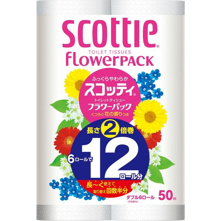 トイレットペーパー ダブル 6ロール 2倍 スコッティ 日本製紙クレシア 物品 6ロールで12ロール分 好評 D 50mダブル フラワーパック 2倍巻き トイレット