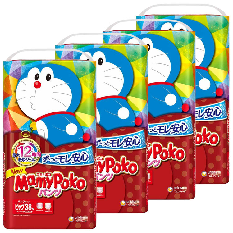 紙おむつ ベビー かわいい パンツ式 MamyPoko 5☆好評 赤ちゃん 安心の定価販売 ビックサイズ 夜 D 38マイ送料無料 お出かけ ビッグ マミーポコパンツ 4個セット ドラえもん