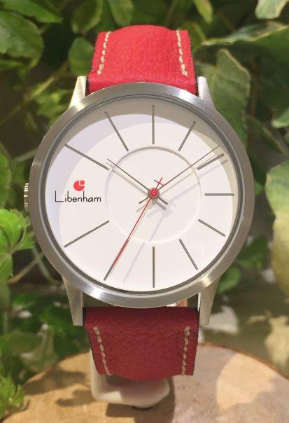 Libenham公式 Libenham Landschaft LH90036-04 Leather-06(Red)[ホワイト/白雪/リベンハム/ラントシャフト/自動巻き/レザーベルト/日本正規保証]