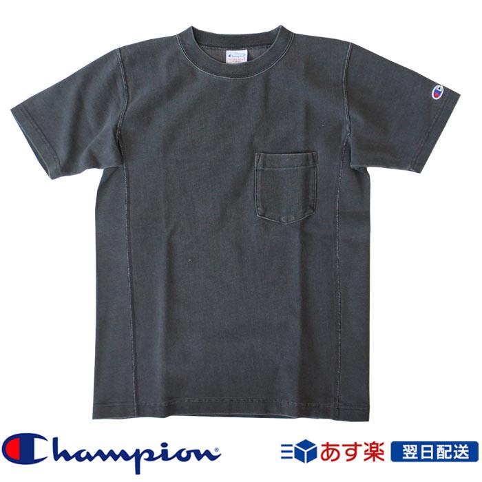 チャンピオン Champion リバースウィーブポケット付きTシャツ ブラック染め 2019SS C3-P320 ダークグレー 【送料無料】(c3-p320-081)