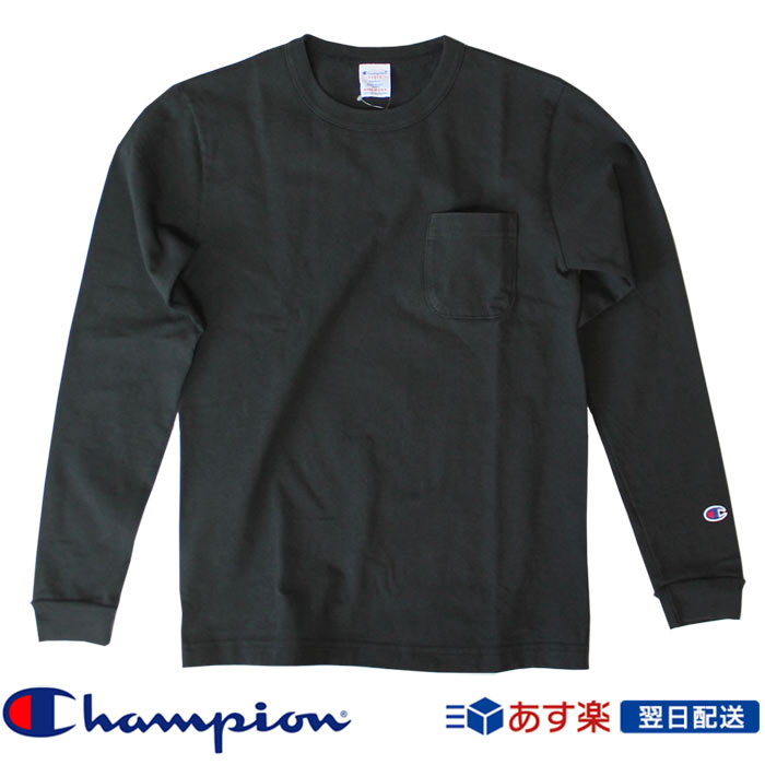 【2019FW新作】チャンピオン Champion T1011(ティーテンイレブン) ポケット付きロングスリーブTシャツ ロンT (C5-P401) ブラック Black【送料無料】
