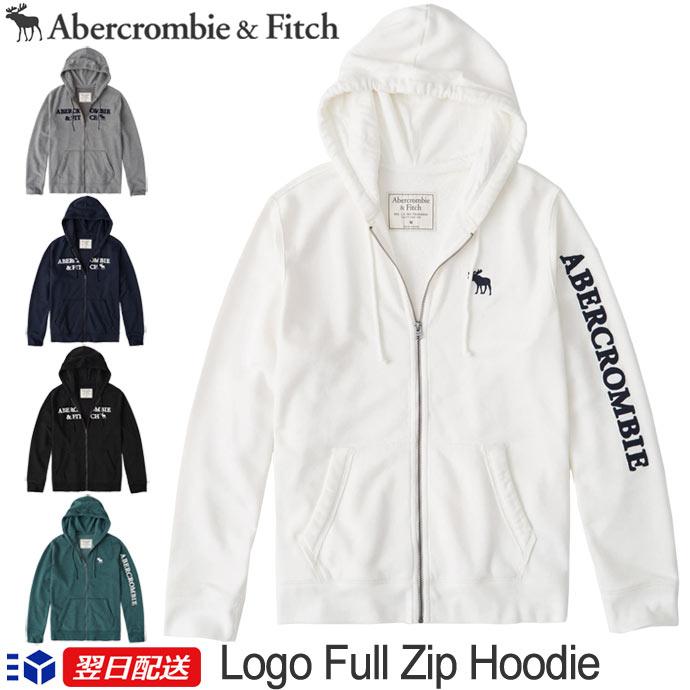 【2019FW新作!】アバクロンビー&フィッチ 正規品 アバクロ Abercrombie&Fitch メンズ ジップアップパーカー Logo Zip Up Hoodie 5色 ホワイト グレー ブラック ネイビー他