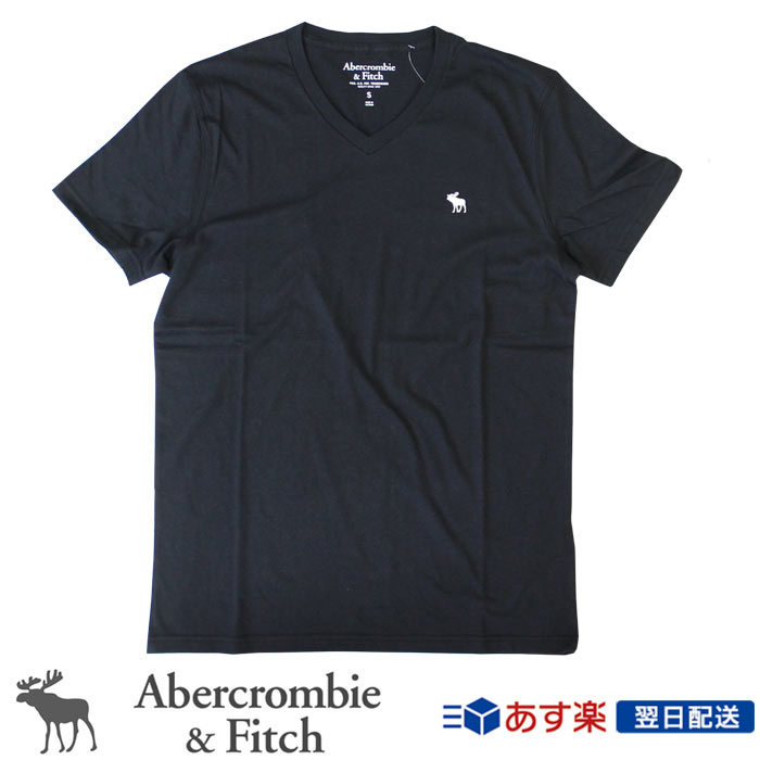 アバクロンビー フィッチ Abercrombie:新作無地VネックTシャツ 新入荷 正規品 アバクロ Abercrombie Fitch メンズ Vネック:V-Neck 日本メーカー新品 Icon - 無地Tシャツ Tee ロゴ入り 格安 価格でご提供いたします Black│ブラック Tシャツ