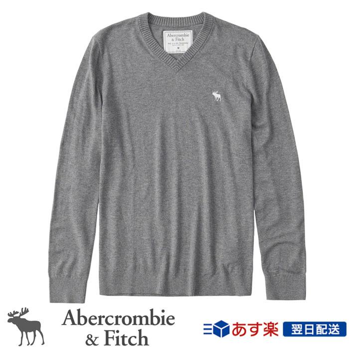 【新作!】アバクロンビー&フィッチ 正規品 アバクロ Abercrombie&Fitch メンズ Vネックセーター ニット:Icon V-Neck Sweater - Grey│グレー【US限定モデル】