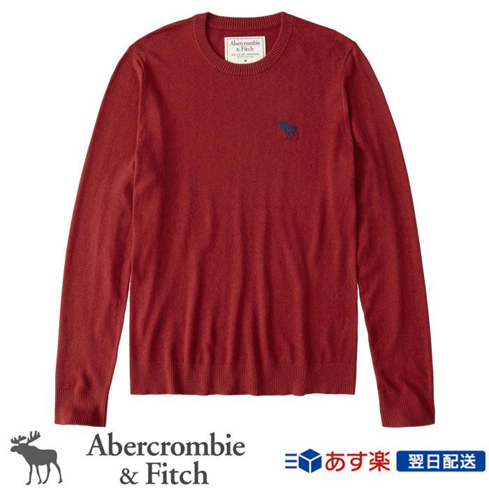 【新作!】アバクロンビー&フィッチ 正規 アバクロ Abercrombie&Fitch メンズ ビックアイコン クルーネックセーター:Exploded Icon Crew Sweater - Red│レッド【US限定モデル】