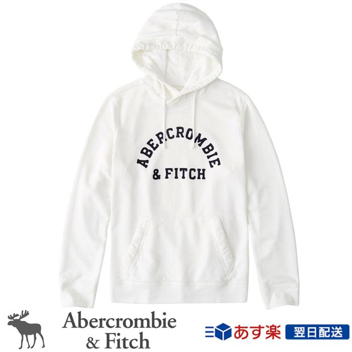 【新作!】アバクロンビー&フィッチ 正規品 アバクロ Abercrombie&Fitch メンズ パーカー フリース プルオーバー Logo Hoodie ホワイト White【US限定モデル】