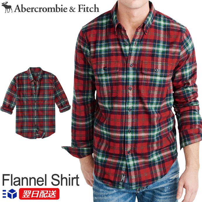 【2019FW新作!】アバクロンビー&フィッチ正規品 アバクロ Abercrombie&Fitch メンズ ボタンダウンシャツ フランネルシャツ Flannel Shirt レッドグリーン Red and Green