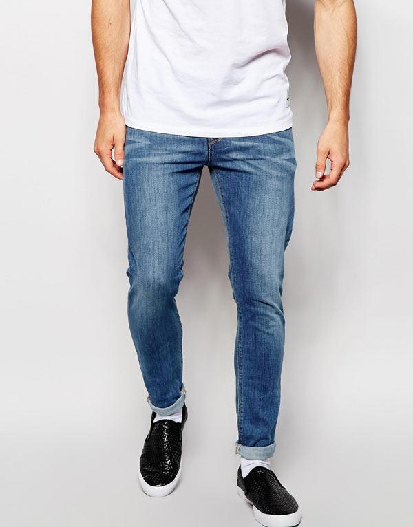 エイソス ASOS メンズ ジーンズ デニムジーパン スキニージーンズ:ASOS Super Skinny Jeans In Mid Wash - Blue