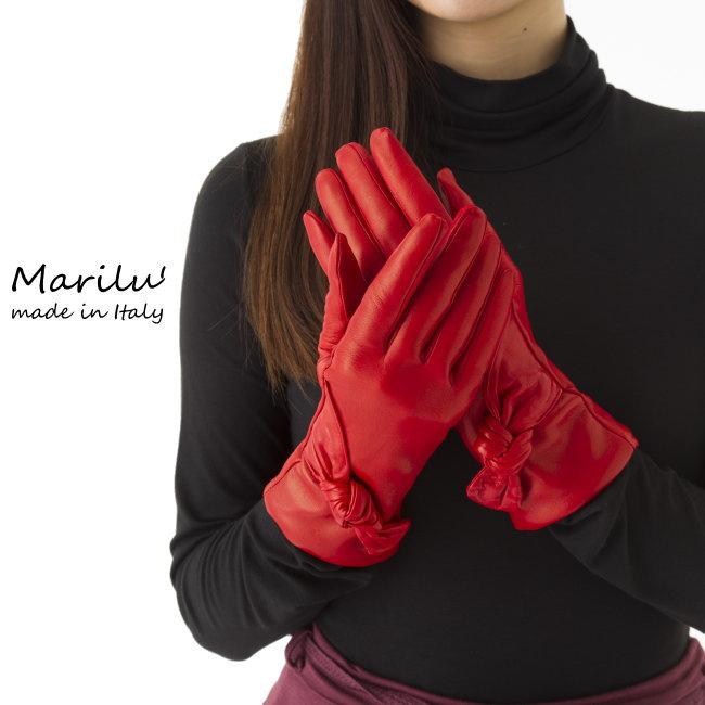 【イタリア直輸入】【よりどり3個で送料無料】イタリア製レザー手袋 レディース/ナッパ革手袋 カシミアライナー《リボン結び》ロングタイプGUA0349【$】
