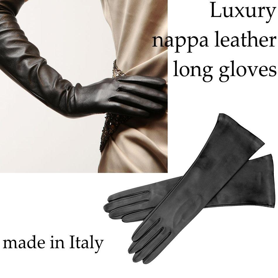 【イタリア直輸入】【よりどり3個で送料無料】イタリア製レザーオペラグローブ ナッパ革ロング手袋 ライナーなし(ヌバック)ロングタイプGUA044-5 GUA046【$】【定番】