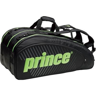 【11000円均一】【廃番 追】prince(プリンス)TTシリーズ ラケットバッグ (9本入)ブラック×グリーンTT701-240【17☆】●●
