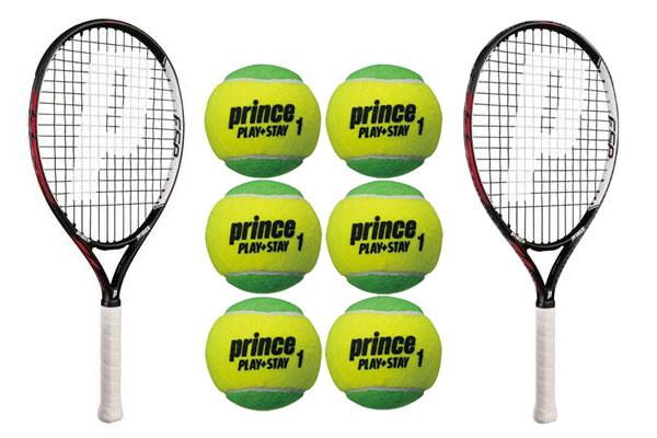 【12000円均一】【廃番 追】prince(プリンス)キッズ・ジュニアテニスラケット(2本)+ボール(6個)セット組み合わせ張上グリーンボール7T36ZJ-2P-7G321-6P-SET【17☆】●●