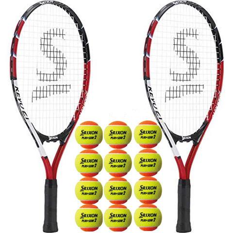 SRIXON(スリクソン)キッズ・ジュニアテニスラケット(2本)+テニスボール(1缶3球入り×4缶)セット組み合わせガット張上済SR21405-2P-STG2ORS3DZ-4SET【定番】●●