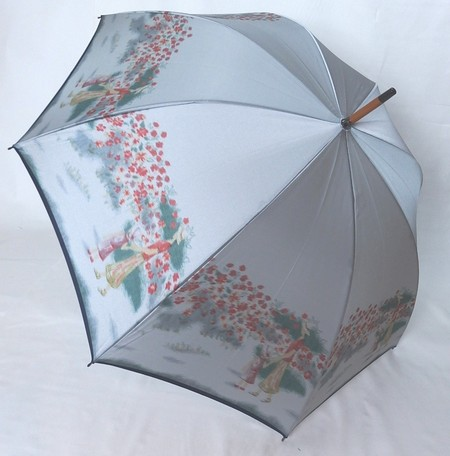 【15000円均一】レディース・ウィメンズ日本製 高級傘 ほぐし織り 花柄手開き傘 58cmグレー5551617-GY【17★】【雨傘】【婦人傘】