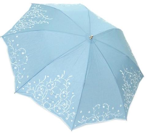 【送料無料】【16000円均一】レディース・ウィメンズ晴雨兼用 綿麻 多頭刺繍ボーラー50cm 折りたたみ傘ブルー5624472-BL【18☆】【婦人傘】【晴雨兼用傘】