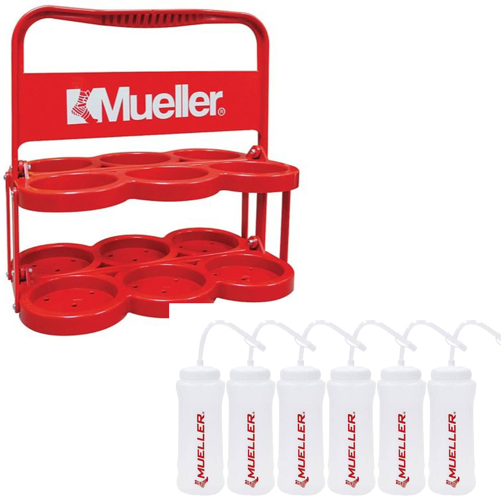 スポーツ 日本 ボトル スポーツドリンク ストロー付 卓抜 キャップ付 キャリーケース 防暑 熱中症 ウォーターボトルキャリーとシュアショットボトル6本セットレッド919129M-6SET-919000 よりどり3個以上で各200円引き ミューラー 送料無料 水分補給 定番 予防 Mueller