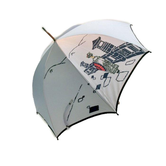 (雨傘)(婦人傘)レディース・ウィメンズ日本製 甲州産ほぐし織り 紫外線防止加工付手開き傘 58cmグレー2882270(16☆)