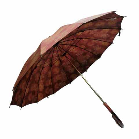 【日本製】【送料無料】レディース・ウィメンズ玉虫裏花柄転写プリント14本骨55cm 手開き傘ローズ200233-120-10-RO【17☆】【雨傘】【婦人傘】