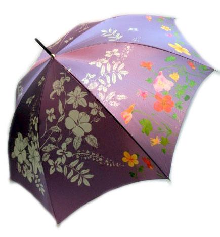 【15000円均一】【送料無料】日本製 東京プリントレディース・ウィメンズ華麗に美しく柄60cm 手開き傘パープル302TP-034-PU【18☆】【婦人傘】【雨傘】