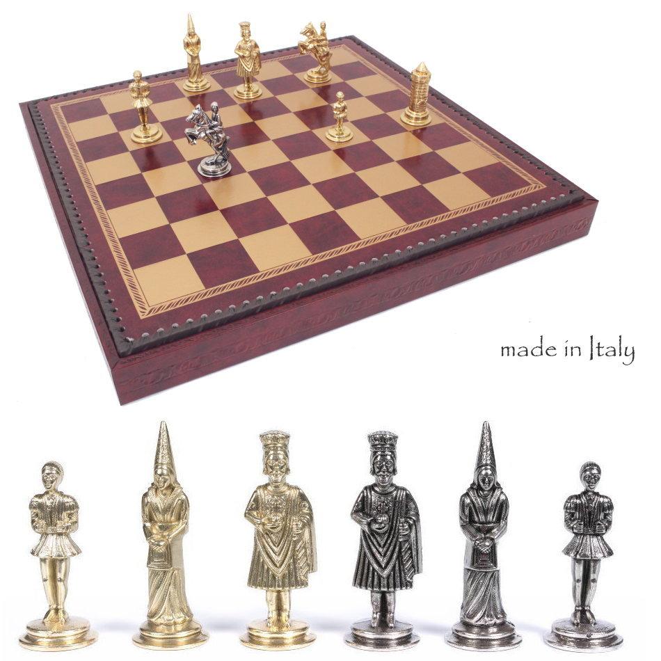 イタリア製チェスメン&ボックス付チェスボードcamelot  50M221GR アーサー王ゆかりの城「キャメロット」【$】【定番】